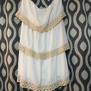 Strapless layered Crochet Dress